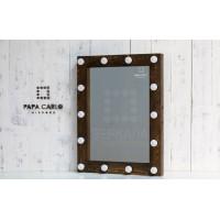 Гримерное зеркало с подсветкой лампочками по периметру 80х60 цвета кофе
