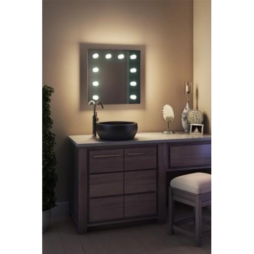 Зеркало в ванную комнату с подсветкой лампочками