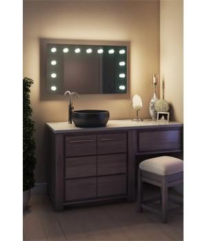 Зеркало в ванную комнату с подсветкой лампочками Лиана